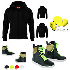 Motorbike SOFT SHELL Hoodie Waterproof Jacket Leather Shoes Armour CE Sneakers