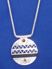 The Sak Silvertone Tiger's Eye Black Thread Inlay Round Pendant Necklace SN0005