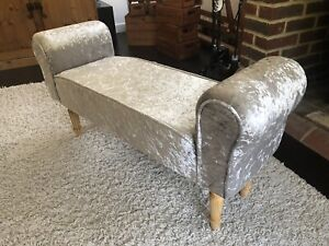 Crushed Velvet Bed End Sofa Bench Window Seat Pouffe Lounge Chair