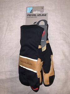 Pearl Izumi AmFIB Lobster Cycling Gloves Large Black / Dark Tan Brand New NWT