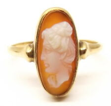 Antique 14K Gold Carved Shell Cameo Ring Sz 4.5 Victorian Womans Face Vtg 19thc