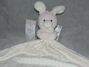 M&S BUNNY PINK STAR COMFORTER SOFT TOY CREAM BLANKIE MARKS AND SPENCER 01296198