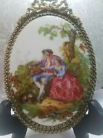 """Vintage French Brass&Porcelain Hand painted """"Watteau"""" Romantic Couple Plaque"""