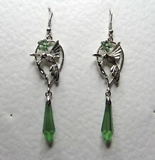 BEAUTIFUL LONG HUMMINGBIRD EARRINGS GREEN ACRYLIC DROP & FLOWER SILVER PLATED HB