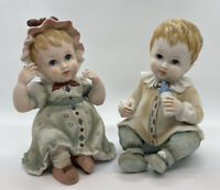 "Vintage Set Of 2 Lefton Bisque Porcelain 6"" Boy & Girl Piano Babies KW1927"