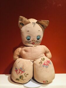 """Antique Vintage 14""""x9""""x5"""" Cotton Stuffed Cat, Cloth F & B, Doll Played With NICE"""