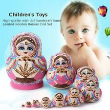 10pcs Novelty Russian Nesting Doll Wooden Matryoshka Set Hand Painted Decor Gift
