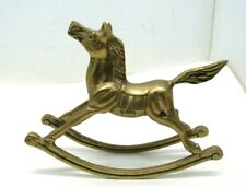 "Vintage Brass Rocking Horse Statue Figurine 7"" Long x 5.5"" Tall"