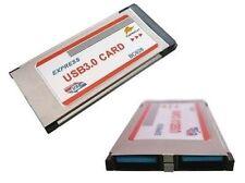 Tarjeta EXPRESSCARD 34mm USB3.0 USB 3 SUPERSPEED 2 PUERTOS Sobresaliente FLUSH