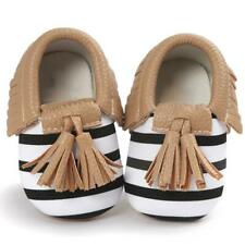 NEW Baby Black White Striped Leather Tassel Fringe Moccasin Crib Shoes 6-12 M