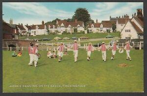 Postcard Finchingfield nr Braintree Essex village Morris Men Dancing on Green