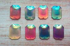 10 x oblong shell pattern shape sew on stones dance trim,gem, flat back,stick on