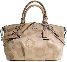 NWT Coach Madison Dotted Op Art Sophia Satchel Large Bag 15957 - Khaki