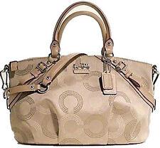 NWT Coach Madison Dotted Op Art Sophia Satchel Large Bag 15957- Khaki- Brand New
