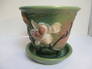 Roseville Magnolia 666-5 Flower Pot Green with replacement saucer
