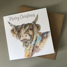 Illustrated Highland Cow Festive Christmas Glitter Greetings Card Recycled UK 20