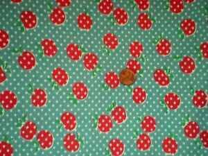 Red CHERRIES on AQUA Intact Vtg FEEDSACK Quilt Sewing Doll Clothes Craft Fabric