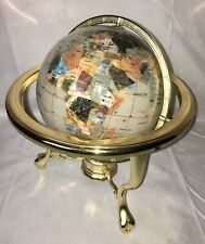Large Gemstone Semi Precious Inlay Crushed Mother Of Pearl Ocean Compass GLOBE