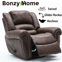 Overstuffed Manual Suede Swivel Rocker Recliner Chair Large Living Room Sofa