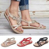 Women's Low Heel T-Strap Summer Beach Sandals Open Toe Flats Flip Flops Shoes