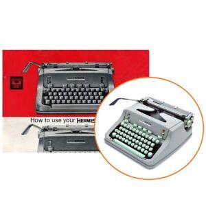 Boxy HERMES 3000 TYPEWRITER INSTRUCTION MANUAL Antique Vtg Repro User Media 3