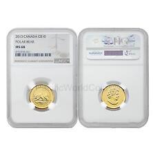 Canada 2013 Polar Bear $10 1/4 oz Gold NGC MS68