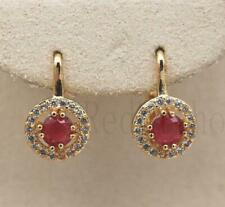 New Yellow Gold Filled Round Ruby Red & Clear CZ  Leverback Huggie Hoop Earrings