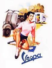 VESPA Vintage Pinup Girl QUALITY CANVAS Print 45cm Retro Scooter Poster C
