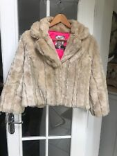 River Island Faux Fur Lightly Quilted Cropped Jacket Size 12
