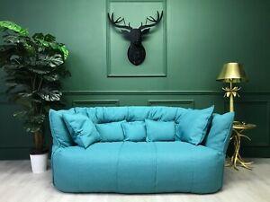 Vintage Retro Blue Brigantin Sofa  by Ligne Roset 1980s
