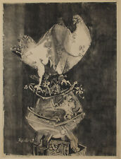 """Bernard Reder 18 x 24"""" litho on rice paper - pencil dated 16 Auot (Aug.) 1954"""