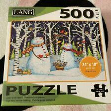 """Lang Birch & Snowmen 500 Piece Jigsaw Puzzle 18"""" x 24"""""""