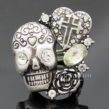 Vintage Silver Coptic Cross Heart Skull Head Flower Crystal Band Finger Ring W7