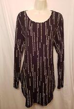 Apt. 9 Womens Size Large L Black/White Knit Long Sleeve Top