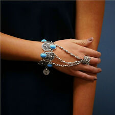 Retro Inlay Blue Resin Beads Hand Chain Ring Silver Plated Bracelet Pendant