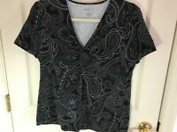 Woman's Talbots size XL black paisley knot front short sleeve cotton blend top