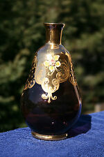 Vintage Hand Painted Venetian  Amethyst Glass Vase Made in  Italy w/Gold Gild
