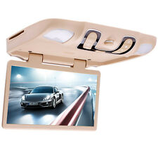 BEIGE 15.6'' Overhead Flip Down Car DVD Player Game TV Monitor Roof Mount Sale