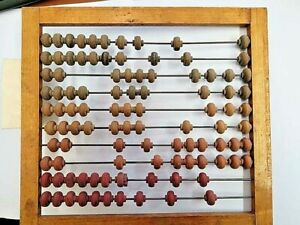 Vintage wooden abacus 10 rods 100 beads