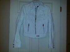 George Palomares Fashions of California White Faux Leather Jacket Sz. L (S - M)