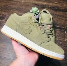 Nike Air Jordan 1 Retro Green Pink White Leather Suede Trainers UK 5.5 EU 38.5
