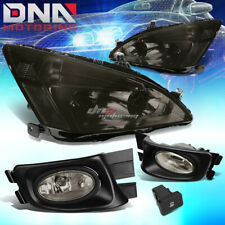 SMOKED HEADLIGHT+CLEAR TURN SIGNAL+TINTED FOG+SWITCH FOR 03-07 ACCORD 2/4DR