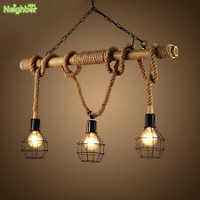 Rustic Rope Bamboo Pendant Light Metal Cage Lamp Shade Industrial Chandelier