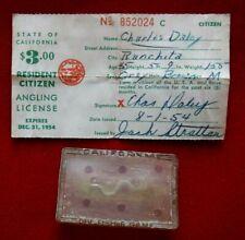 Vtg 1950's California Resident Fishing License & Fish & Game Badge Holder