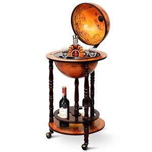 Wood Globe Wine Bar Stand 16th Century Italian Rack Liquor Bottle Shelf