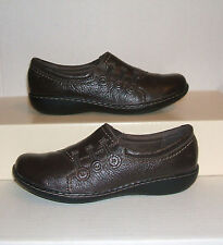 CLARKS Bendables Women's Dark Brown Leather Casual Loafers Slip-On Shoe 7 M MINT