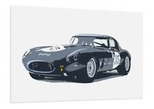 Jaguar E-Type - 30x20 Inch Canvas - Framed Picture Painting