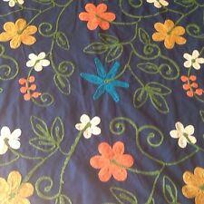 Chenille Embroidered Cotton Fabric Flower Power 3yds Viking Machine handMade