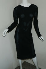 Women Silk Carter Shibori Solid Black Long Sleeve Sheer Dress Size S .