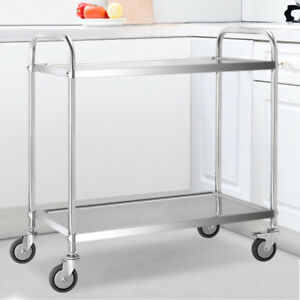 2 Tier Kitchen Food Storage Trolley Stainless Steel Catering Serving Cart Shelf